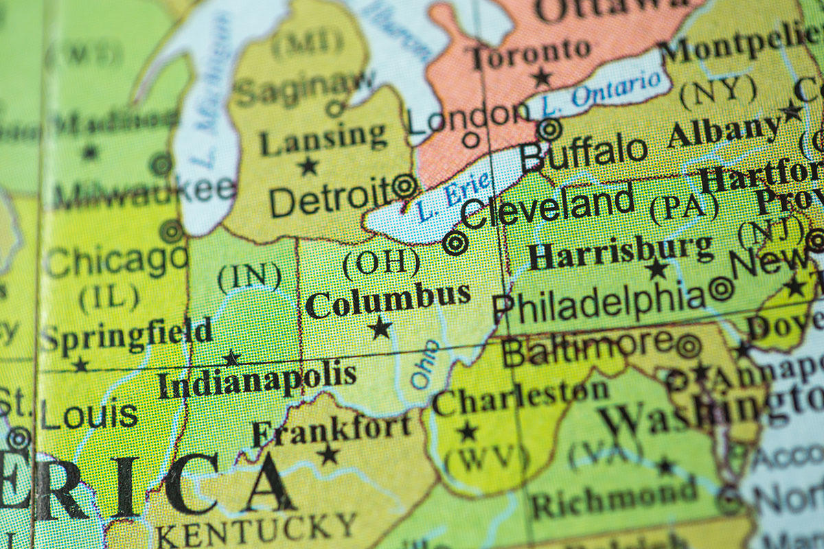 State of Ohio on map