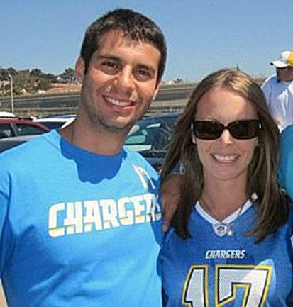 Man and woman in Chargers gear