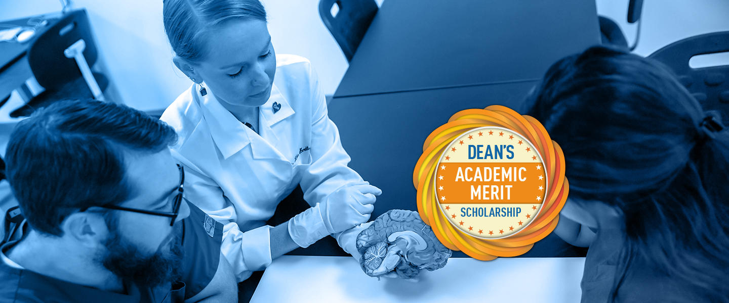"Graphic text of ""Dean's Academic Merit Scholarship"""