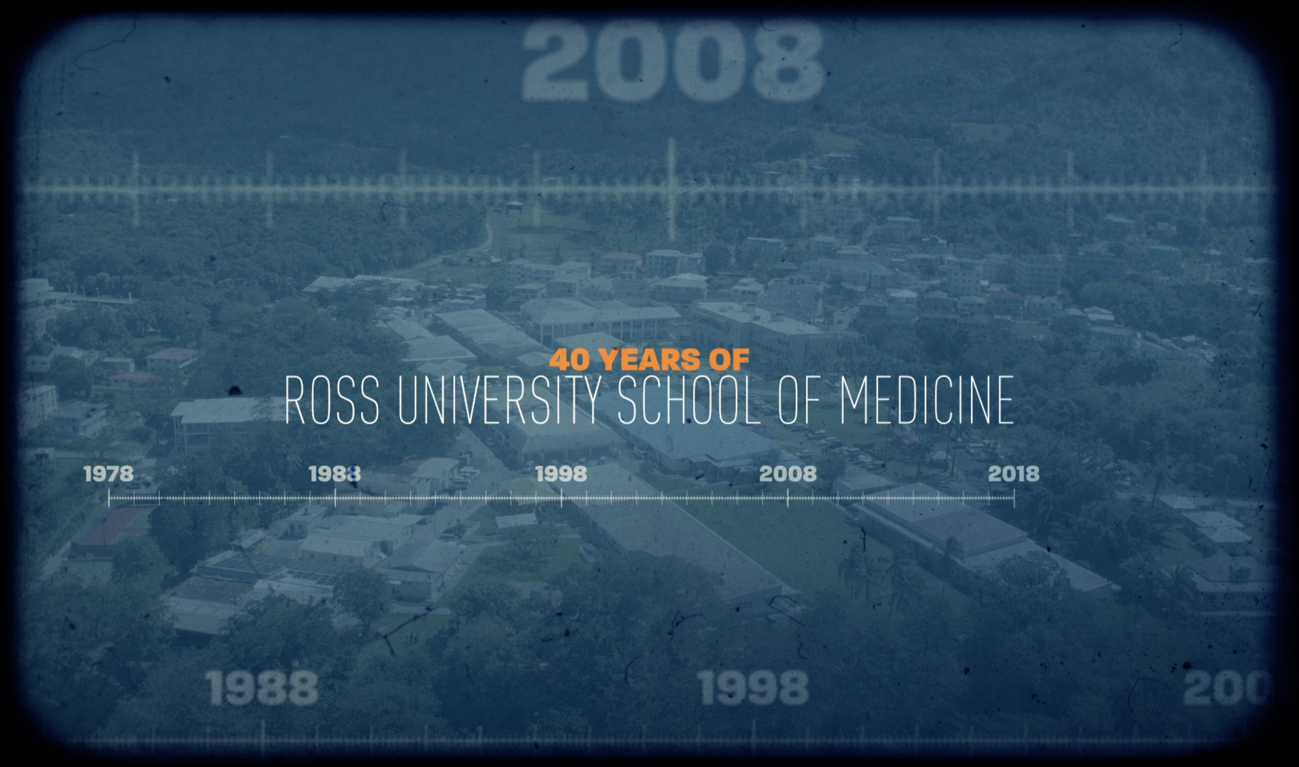 "Graphic text of ""40 years of Ross University School of Medicine"""