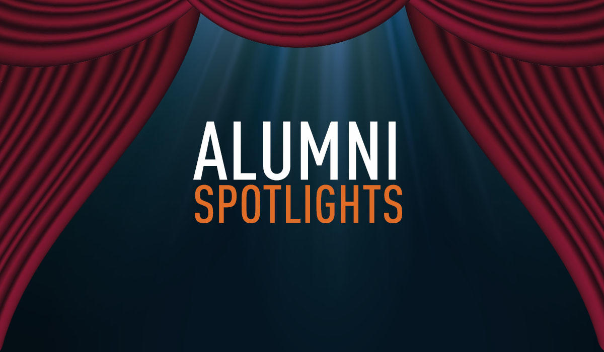 "Graphic text of ""Alumni spotlights"""
