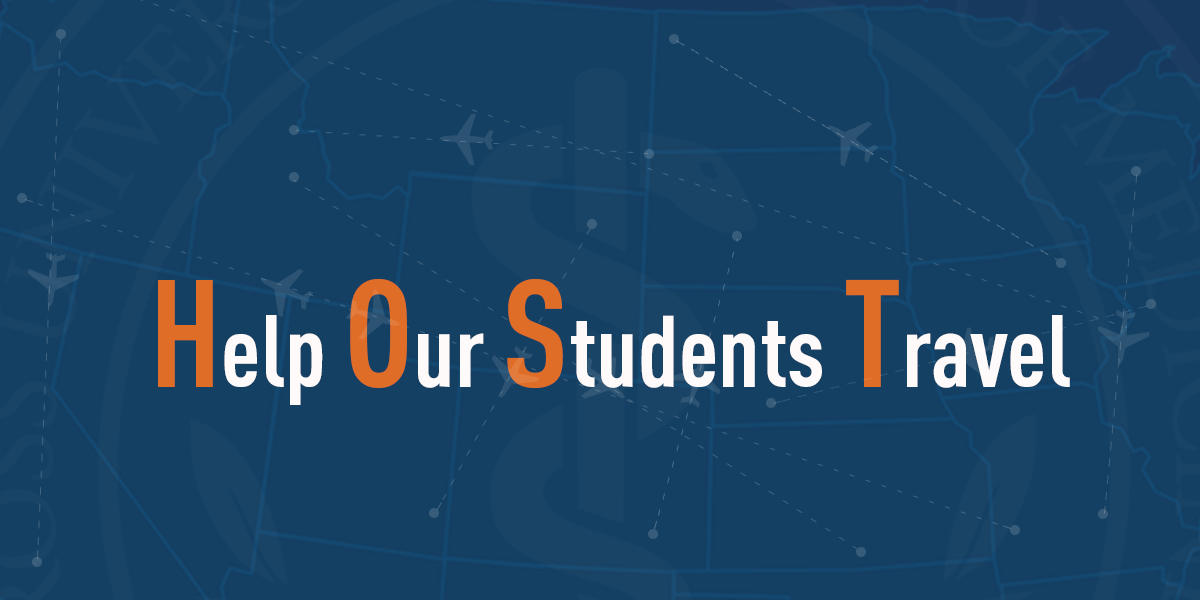 "Graphic text of ""Host- Help Our Students Travel"""